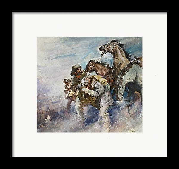 Men Framed Print featuring the painting Men And Horses Battling A Storm by James Edwin McConnell