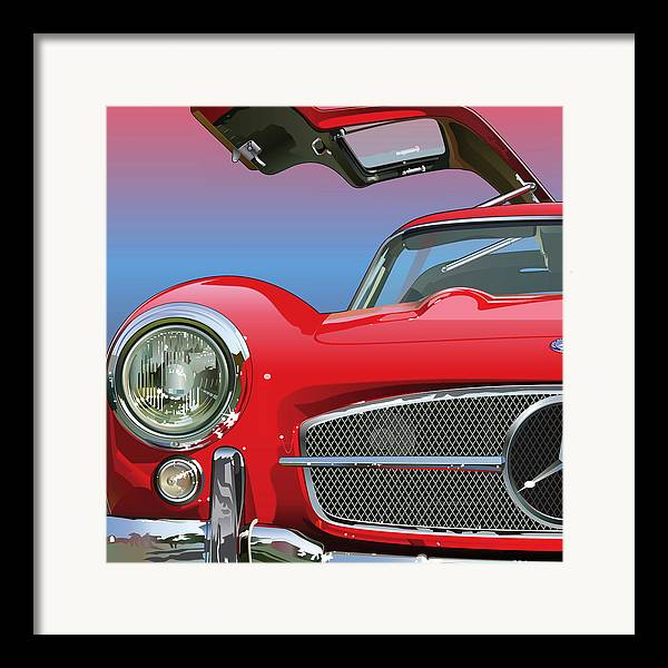 Automotive Art Framed Print featuring the drawing Mercedes 300 Sl Gullwing Detail by Alain Jamar