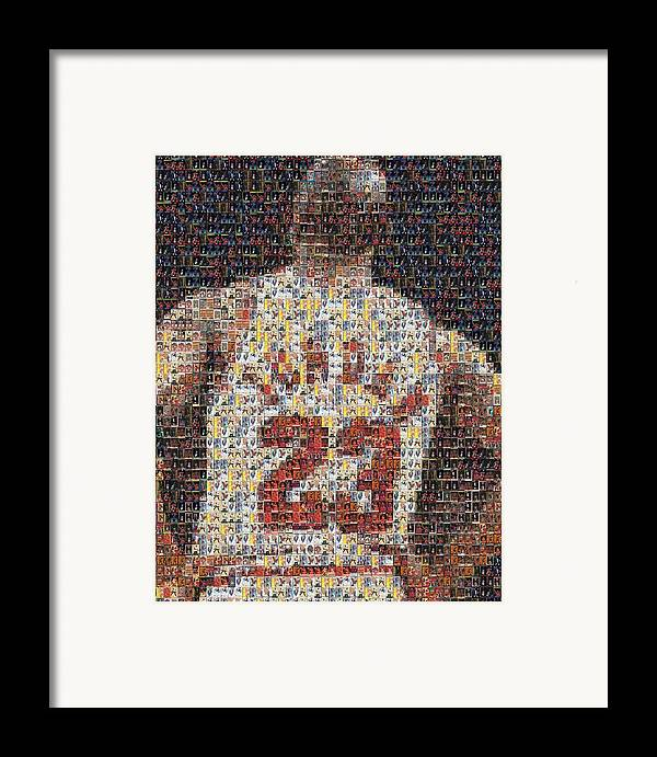 Michael Jordan Framed Print featuring the mixed media Michael Jordan Card Mosaic 2 by Paul Van Scott