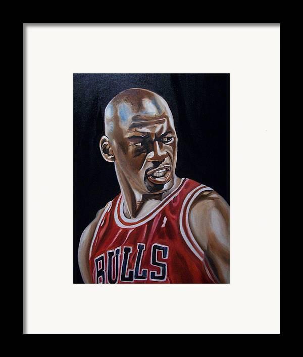 Michael Jordan Painting Framed Print featuring the painting Michael Jordan by Mikayla Ziegler
