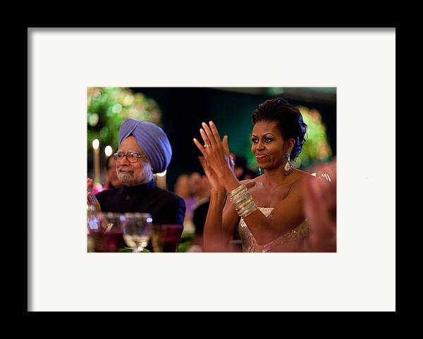 History Framed Print featuring the photograph Michelle Obama Applauds by Everett