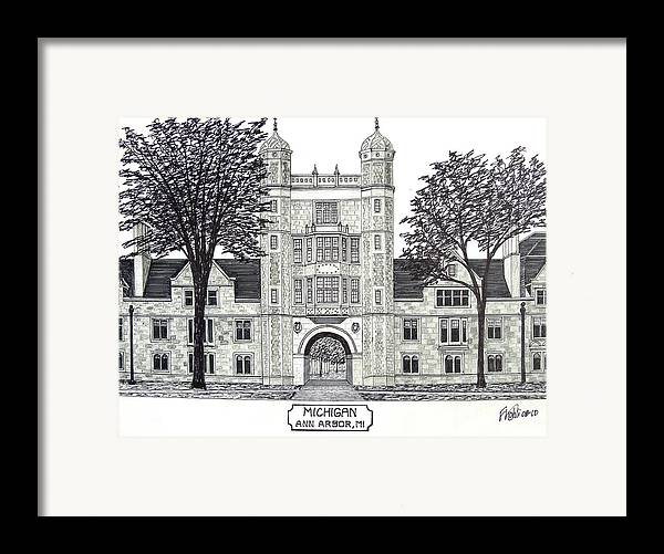 Pen And Ink Drawings Framed Print featuring the drawing Michigan by Frederic Kohli