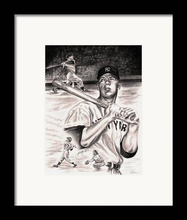 Mickey Mantle Portrait Framed Print featuring the drawing Mickey Mantle by Kathleen Kelly Thompson
