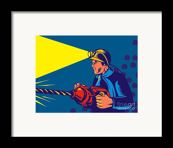 Illustration Framed Print featuring the digital art Miner With Jack Drill by Aloysius Patrimonio