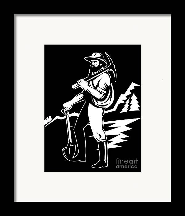 Illustration Framed Print featuring the digital art Miner With Pick Axe And Shovel by Aloysius Patrimonio