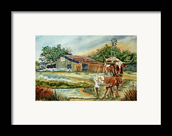 Longhorns Framed Print featuring the painting Momma Longhorn And Calf by Ron Stephens