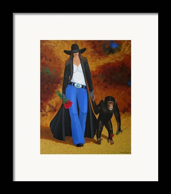 Monkey Framed Print featuring the painting Monkeys Best Friend by Lance Headlee