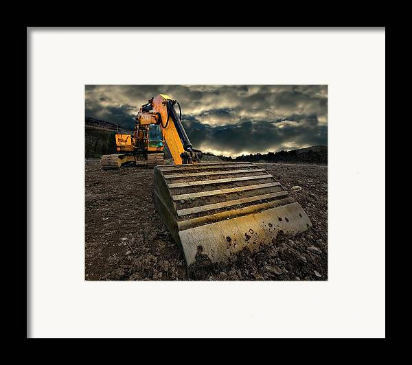 Activity Framed Print featuring the photograph Moody Excavator by Meirion Matthias