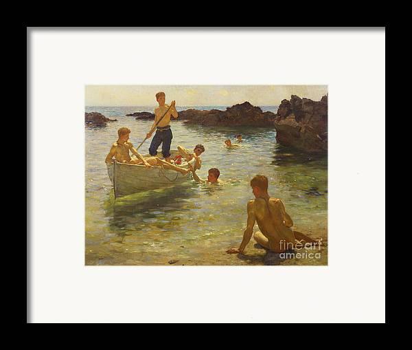 Swimming Framed Print featuring the painting Morning Splendour by Henry Scott Tuke