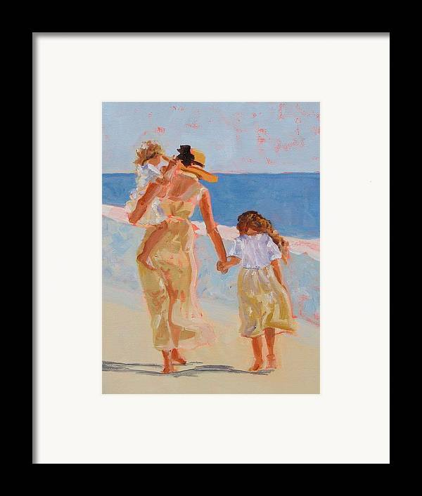 Woman Framed Print featuring the painting Mother And Two Daughters by Molly Wright
