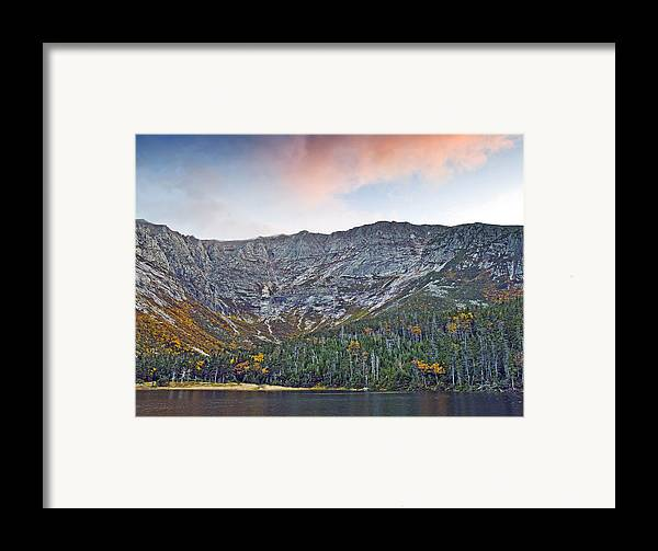 Katahdin Framed Print featuring the photograph Mount Katahdin From Chimney Pond In Baxter State Park Maine by Brendan Reals