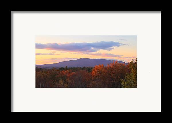 Mount Monadnock Framed Print featuring the photograph Mount Monadnock Autumn Sunset by John Burk