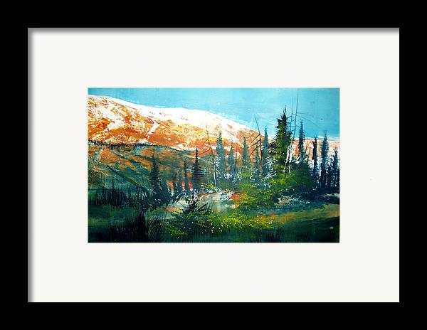 Landscape Framed Print featuring the mixed media Mountain Light by Robert Carver