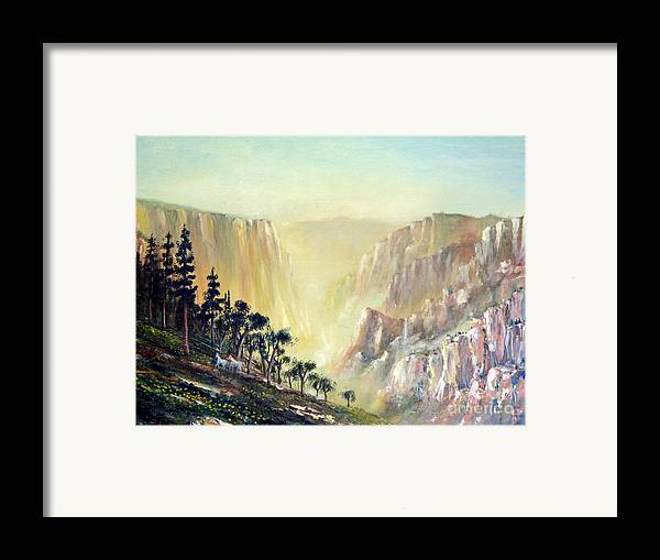 Mountain Framed Print featuring the painting Mountain Of The Horses 1989 by Wingsdomain Art and Photography