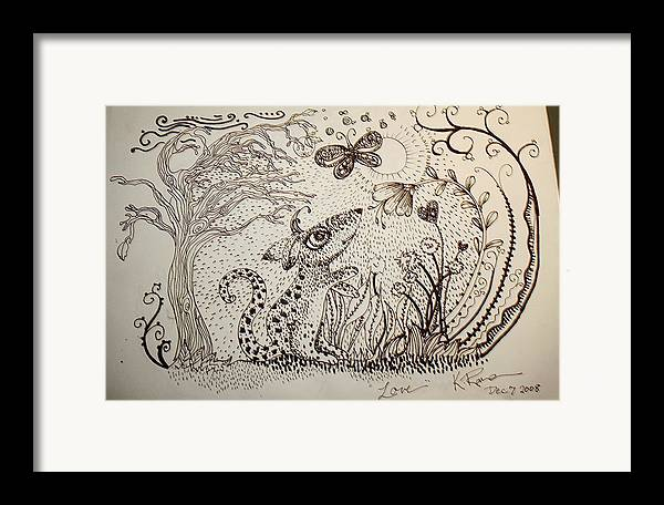 Pen Ink Nature Black White Framed Print featuring the ceramic art Mouse by Kathleen Raven