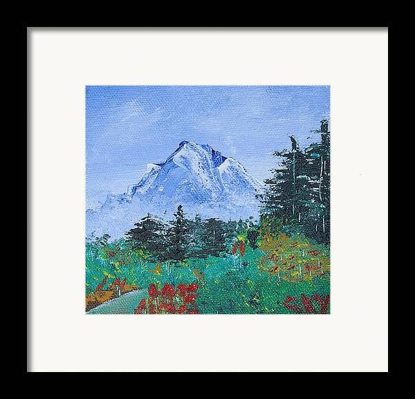Nature Framed Print featuring the painting My Mountain Wonder by Jera Sky