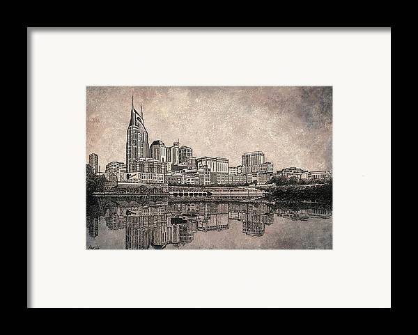 Nashville Skyline Art Framed Print featuring the drawing Nashville Skyline by Janet King