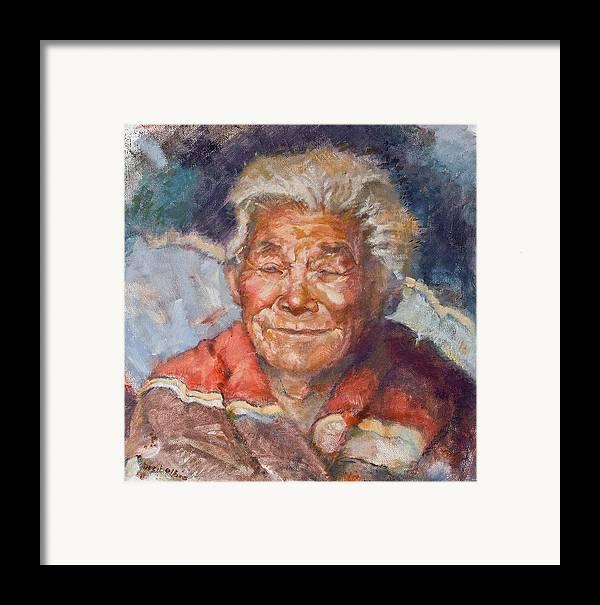 Elder Framed Print featuring the painting Navaho Wisdom by Ellen Dreibelbis