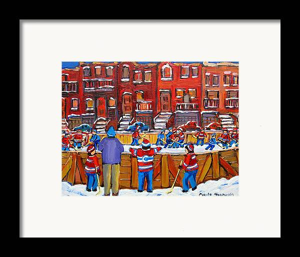 Hockeygame At The Neighborhood Rink Framed Print featuring the painting Neighborhood Hockey Rink by Carole Spandau