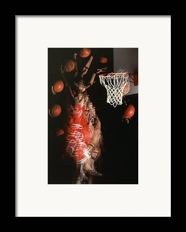 Sport; Sports; Basketball; Player; Effort; Ball; Basket; Dunk; Jump; Jumping; Skill; Game; Games; Basket Ball; Hoop; Round Ball; Net; Swish; Man; Boy; Black; African American; African-american Framed Print featuring the photograph Net Fever by Gerard Fritz