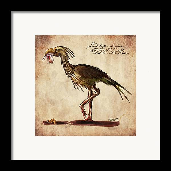 Fantasy Framed Print featuring the drawing Never Bird by Mandem