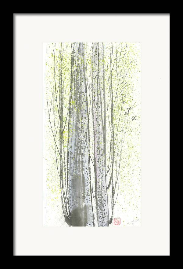 New Leaves Sprung Out From A Polar Tree With Birds Singing Among The Branches Framed Print featuring the painting New Leaves by Mui-Joo Wee