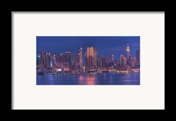 Nyc Skyline Framed Print featuring the photograph New York City by Kirit Prajapati