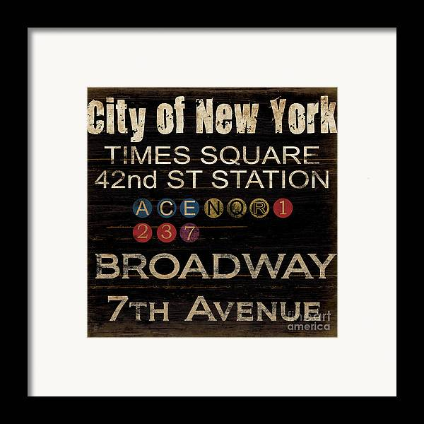 New York Framed Print featuring the mixed media New York Subway by Grace Pullen