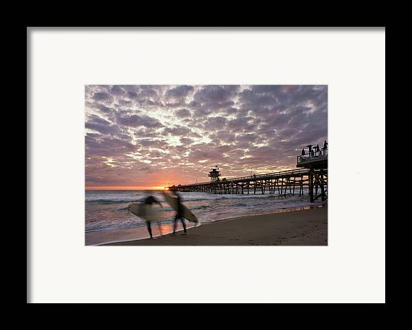 Night Surfing Framed Print by Gary Zuercher