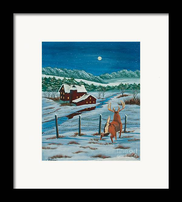 Deer Paintings Framed Print featuring the painting Night Watch by Charlotte Blanchard