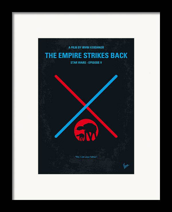 Star Framed Print featuring the digital art No155 My Star Wars Episode V The Empire Strikes Back Minimal Movie Poster by Chungkong Art