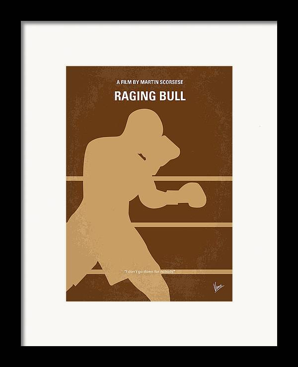Raging Framed Print featuring the digital art No174 My Raging Bull Minimal Movie Poster by Chungkong Art