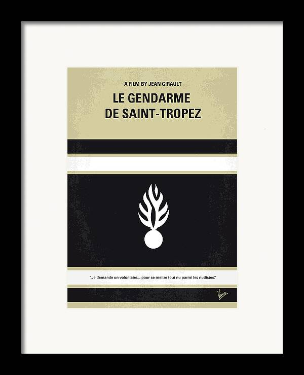 Le Framed Print featuring the digital art No186 My Le Gendarme De Saint-tropez Minimal Movie Poster by Chungkong Art