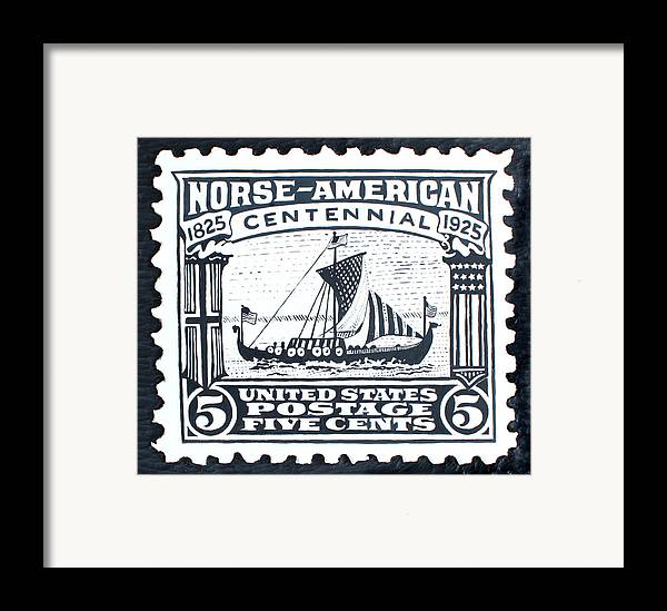 Ship Framed Print featuring the painting Norse-american Centennial Stamp by James Neill