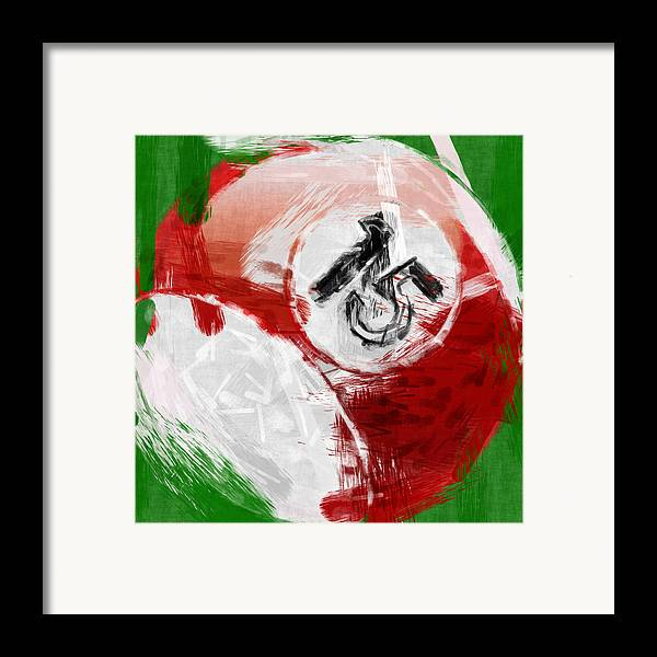 15 Framed Print featuring the photograph Number Fifteen Billiards Ball Abstract by David G Paul