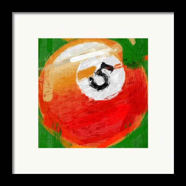 Five Framed Print featuring the photograph Number Five Billiards Ball Abstract by David G Paul