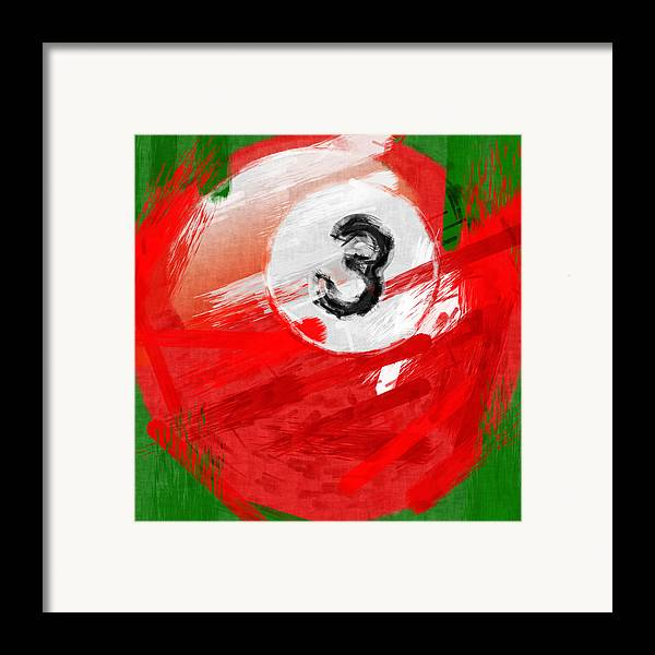 3 Framed Print featuring the photograph Number Three Billiards Ball Abstract by David G Paul