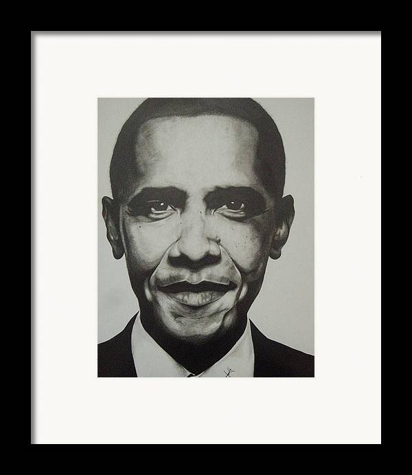 Barack Obama Framed Print featuring the drawing Obama by Jane Nwagbo