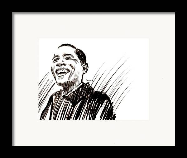 Barack Obama Framed Print featuring the drawing Obama by Michael Facey