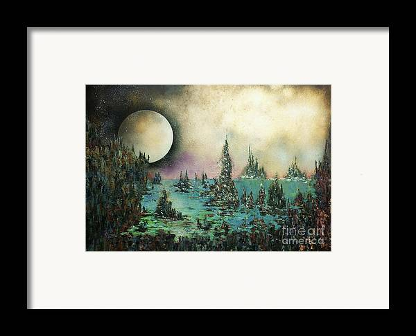 Landscape Framed Print featuring the painting Ocean Moonrise by Kaye Miller-Dewing