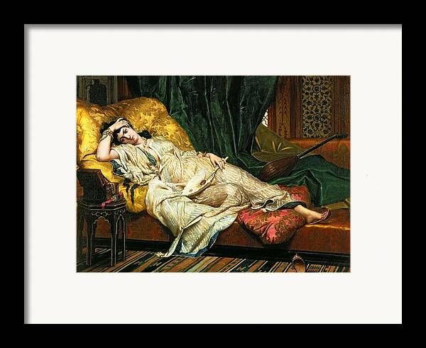 Odalisque Framed Print featuring the painting Odalisque With A Lute by Hippolyte Berteaux