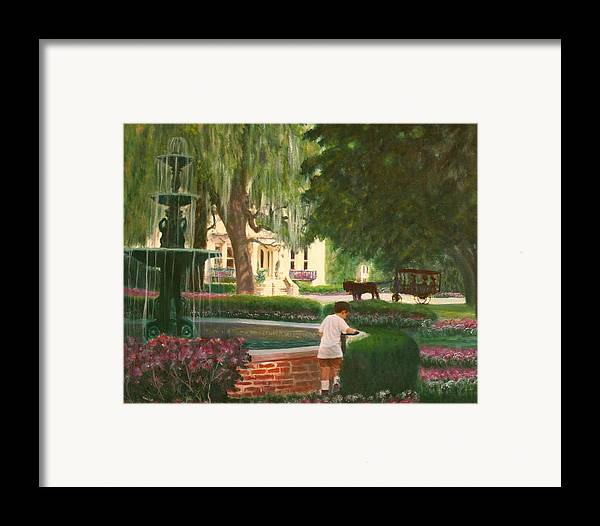 Savannah; Fountain; Child; House Framed Print featuring the painting Old And Young Of Savannah by Ben Kiger