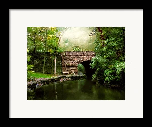 Old Countrybridge Green Art Framed Print featuring the photograph Old Country Bridge by Jessica Jenney