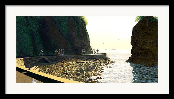 Landscape Framed Print featuring the painting On The Seawall Stanley Park by Neil Woodward