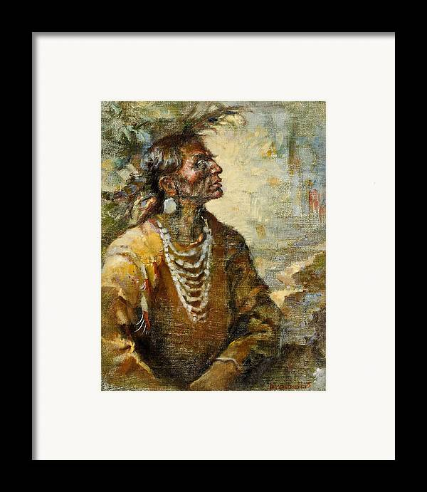 Native American Framed Print featuring the painting One With The Earth by Ellen Dreibelbis