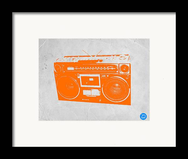 Framed Print featuring the painting Orange Boombox by Naxart Studio