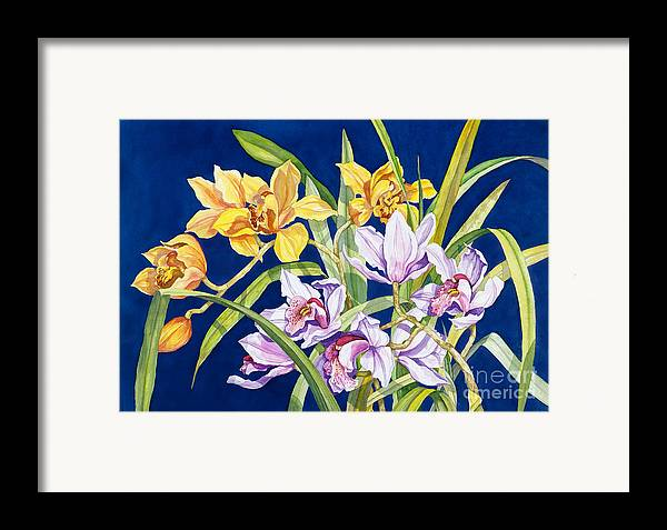 Orchids Framed Print featuring the painting Orchids In Blue by Lucy Arnold