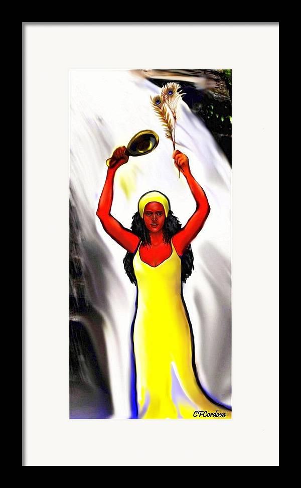 Oshun Framed Print featuring the digital art Oshun -goddess Of Love -4 by Carmen Cordova