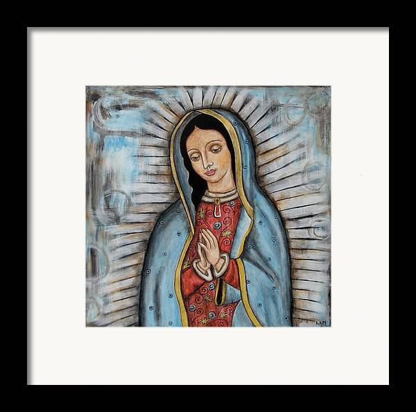 Folk Art Paintings Framed Print featuring the painting Our Lady Of Guadalupe by Rain Ririn