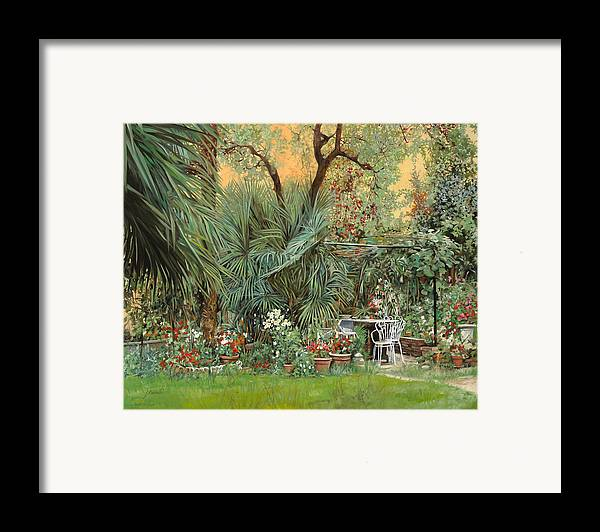 Garden Framed Print featuring the painting Our Little Garden by Guido Borelli